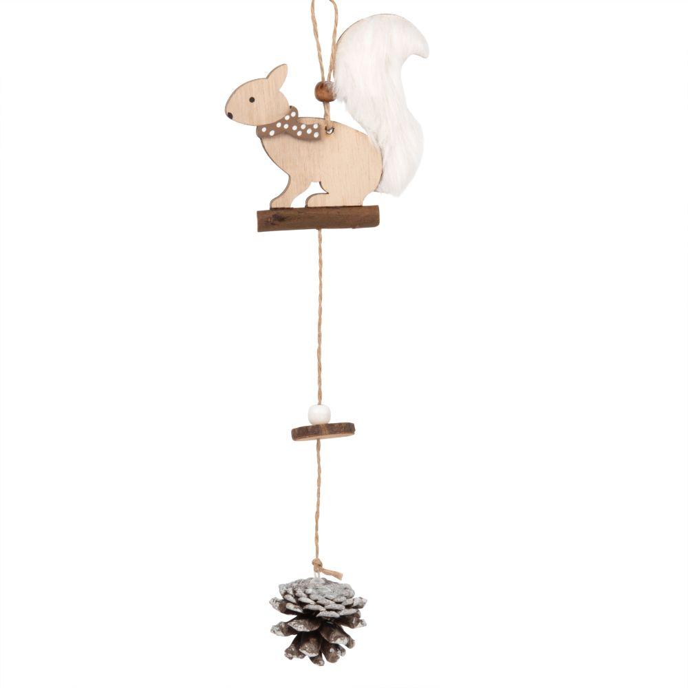 Suspension de Noël écureuil et pomme de pin