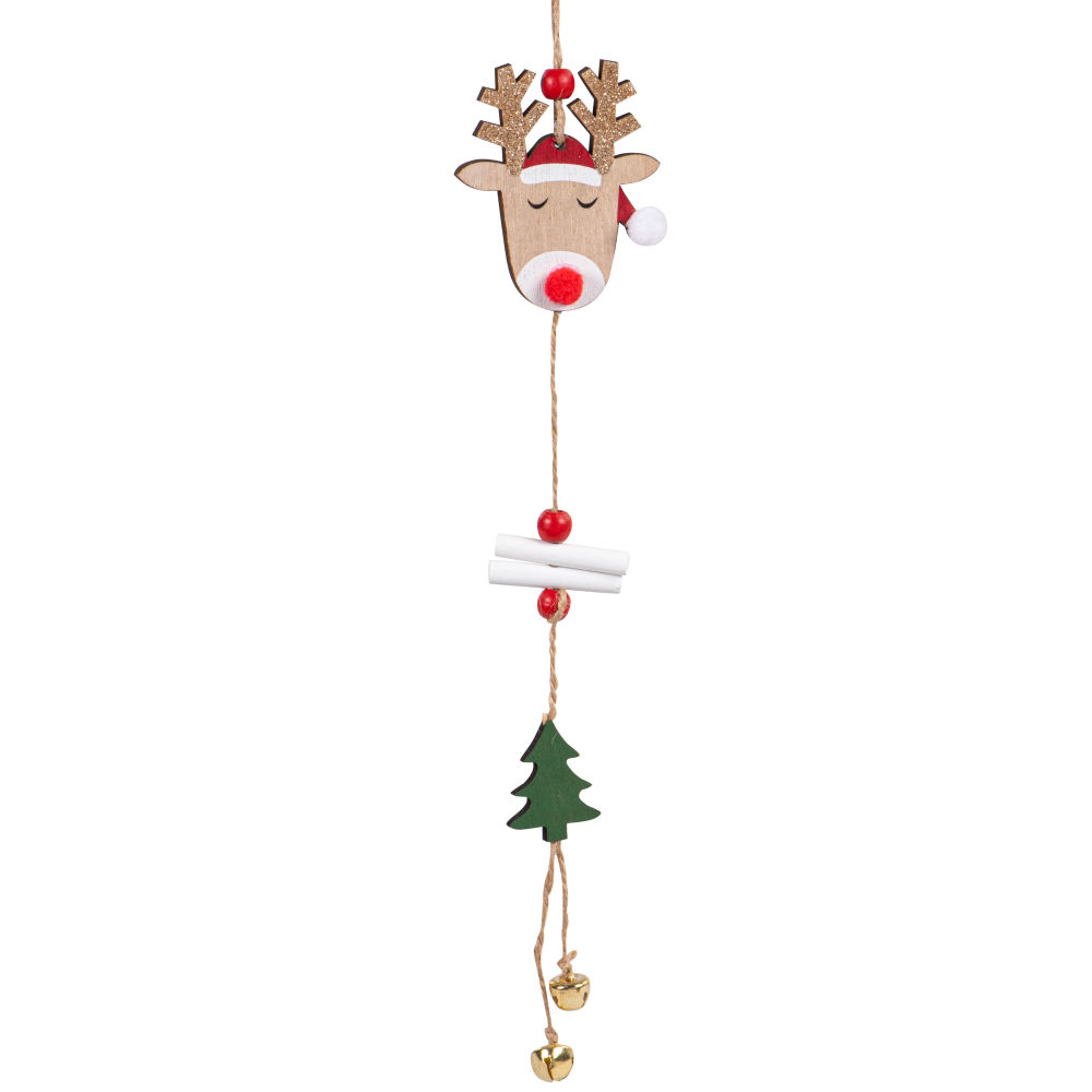 Suspension de Noël élan et sapin marron, rouge et vert