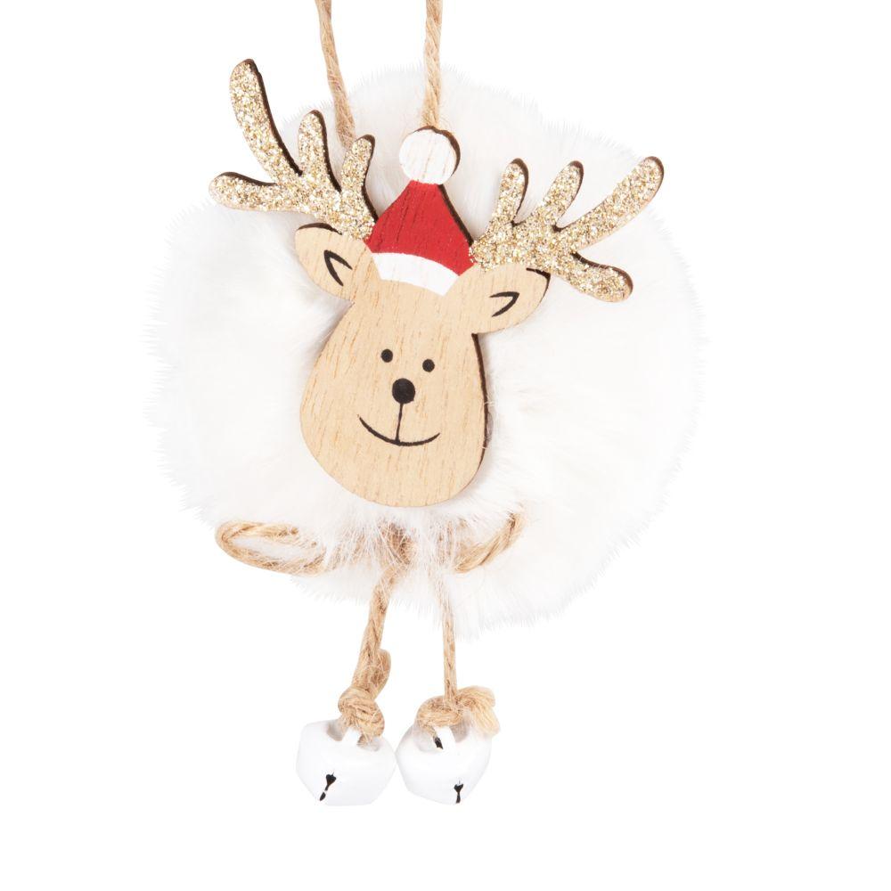 Suspension de Noël en peuplier imitation fourrure blanche