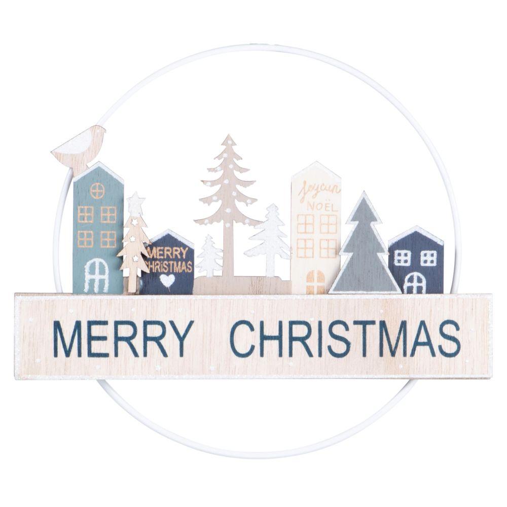 Suspension de Noël en peuplier motifs maisons et sapins beiges et bleus