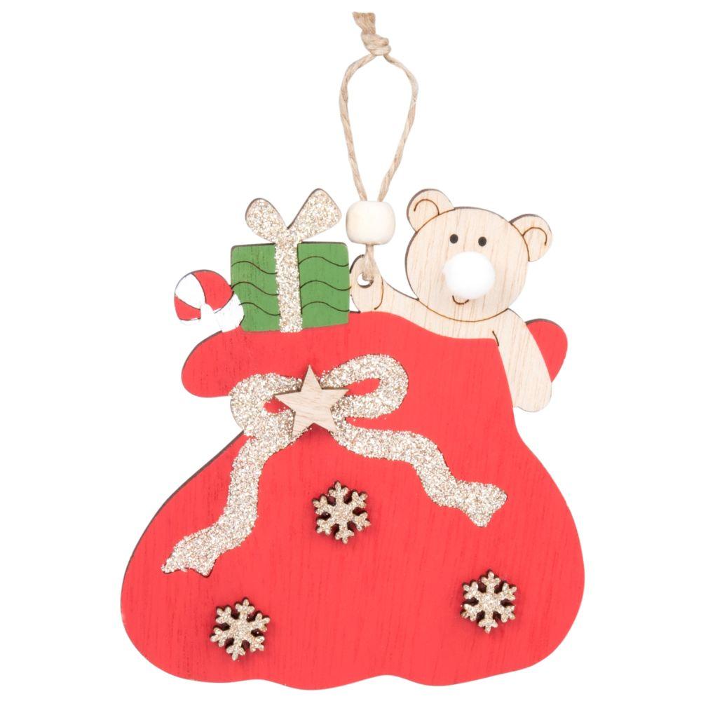 Suspension de Noël en peuplier rouge à pompon