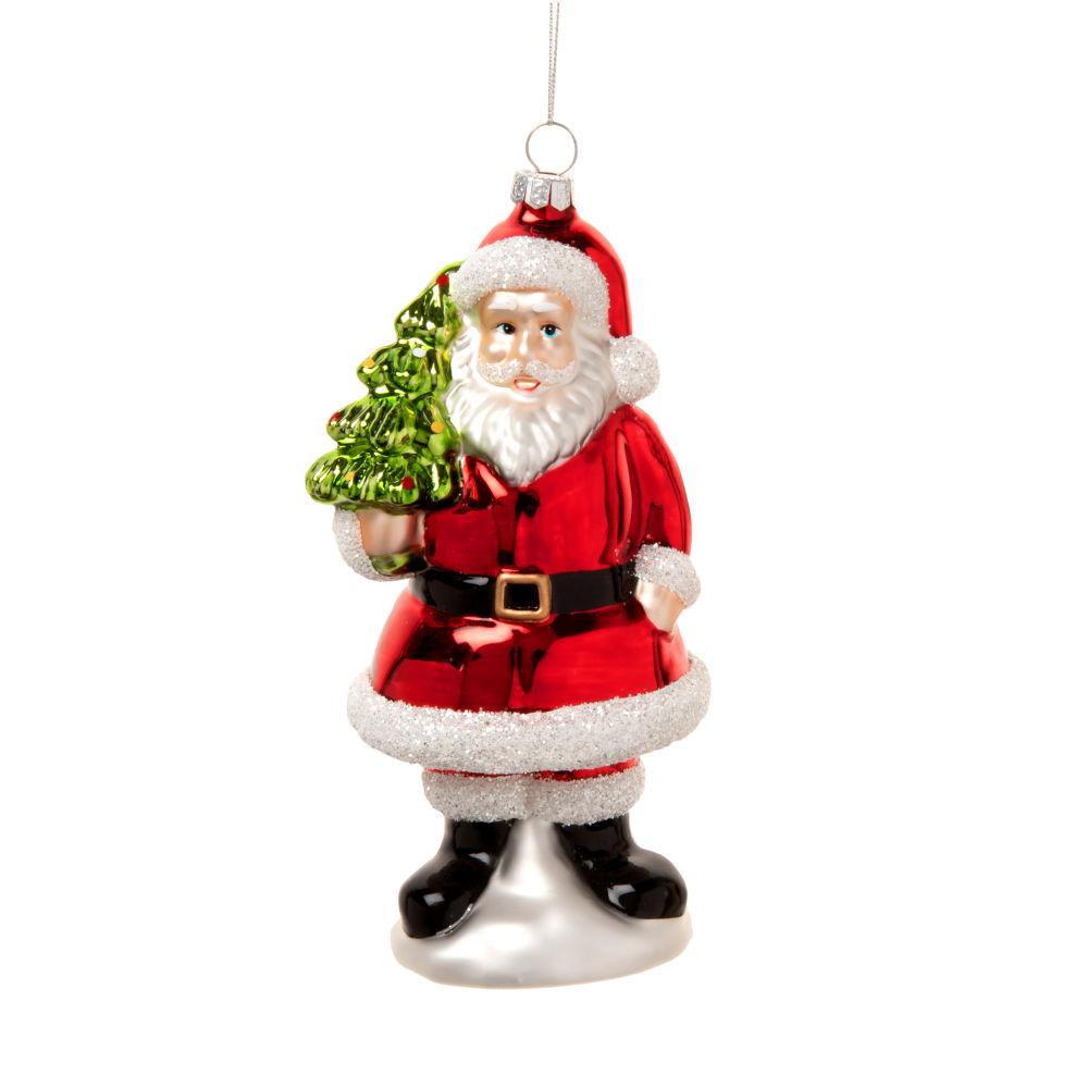 Suspension de Noël en verre rouge, vert et blanc