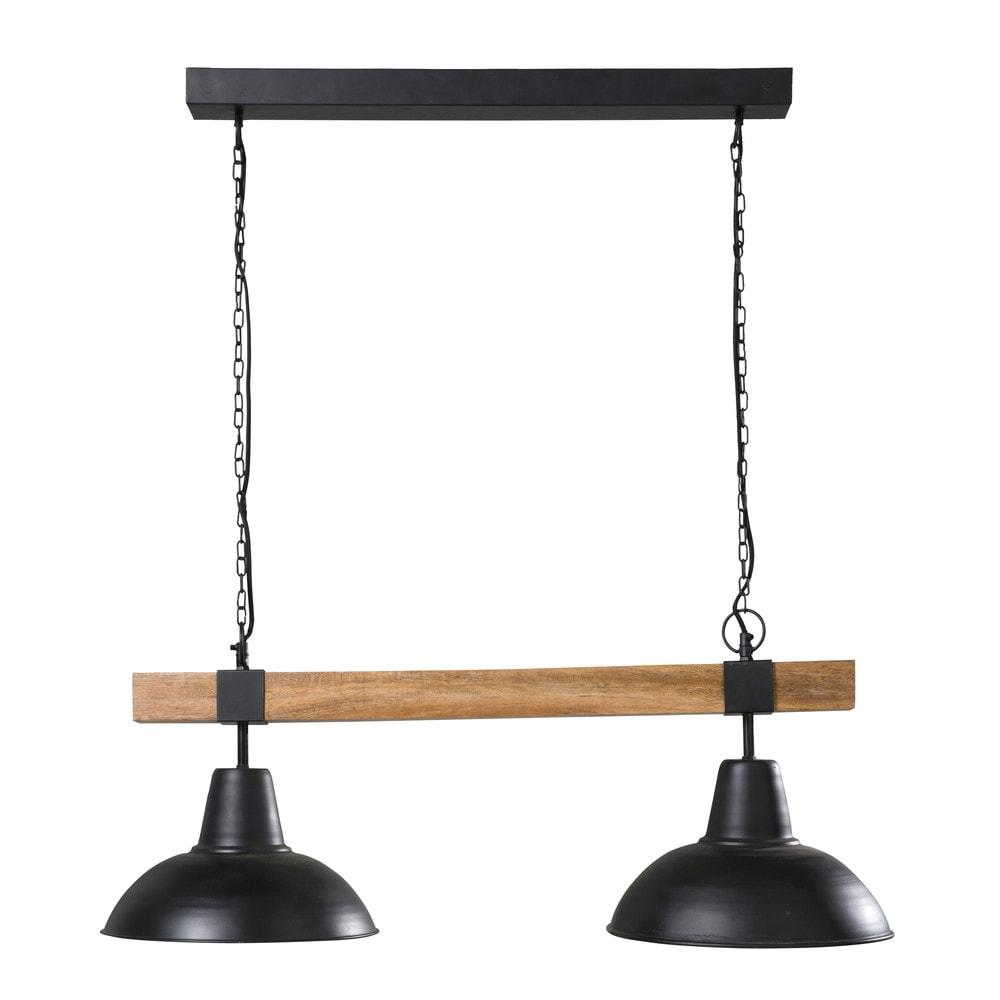 Suspension double en métal noir et manguier
