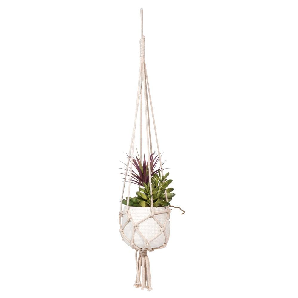 Suspension en macramé de plantes grasses artificielles