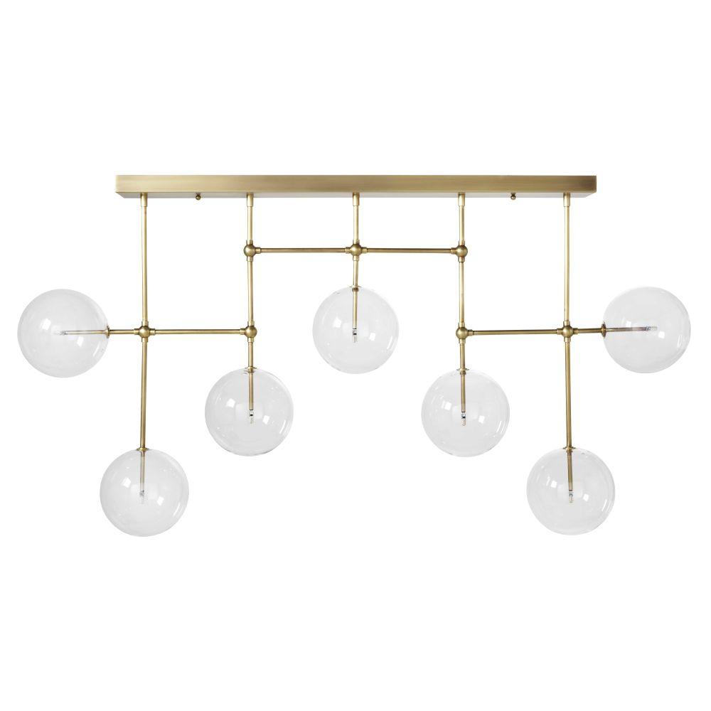 Suspension en métal doré et 7 globes en verre