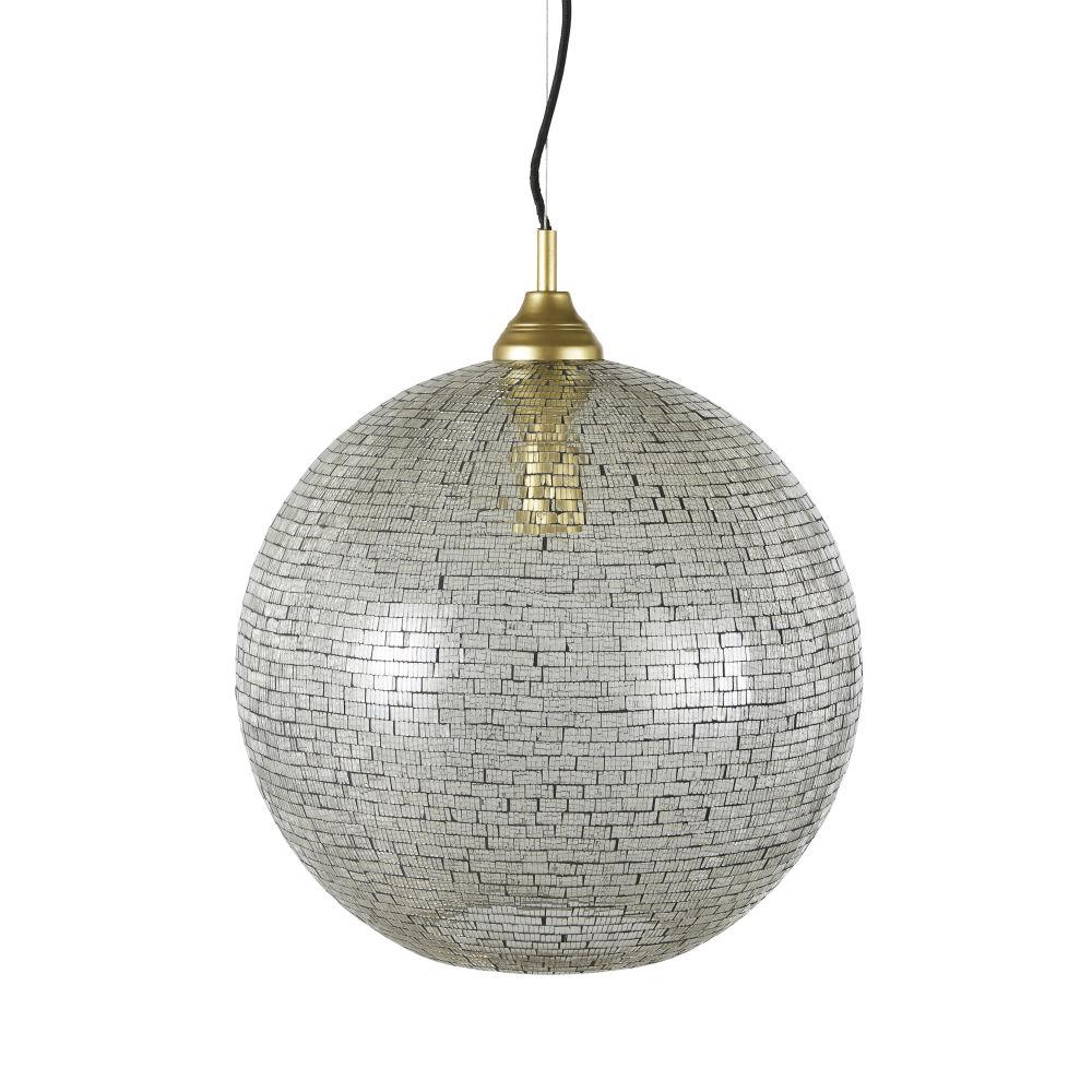 Suspension en mosaïque de verre doré et argenté