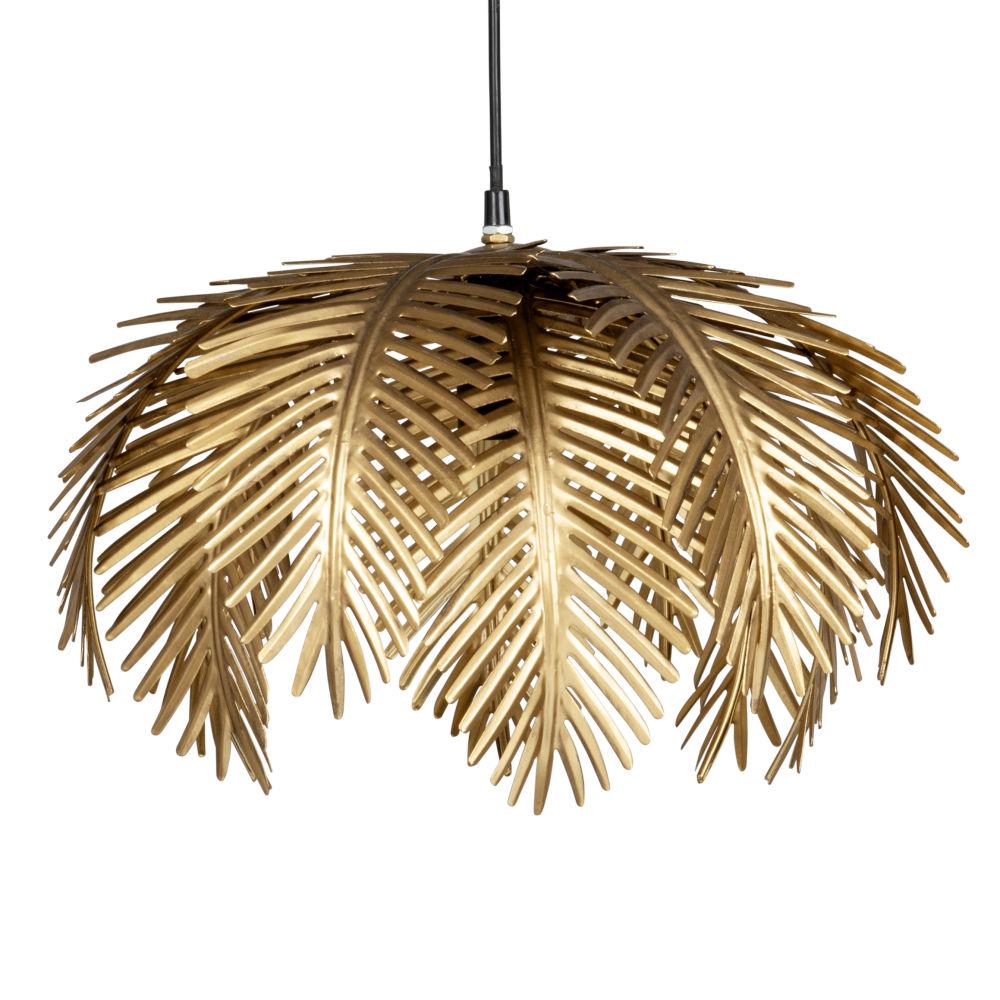 Suspension feuilles en métal doré