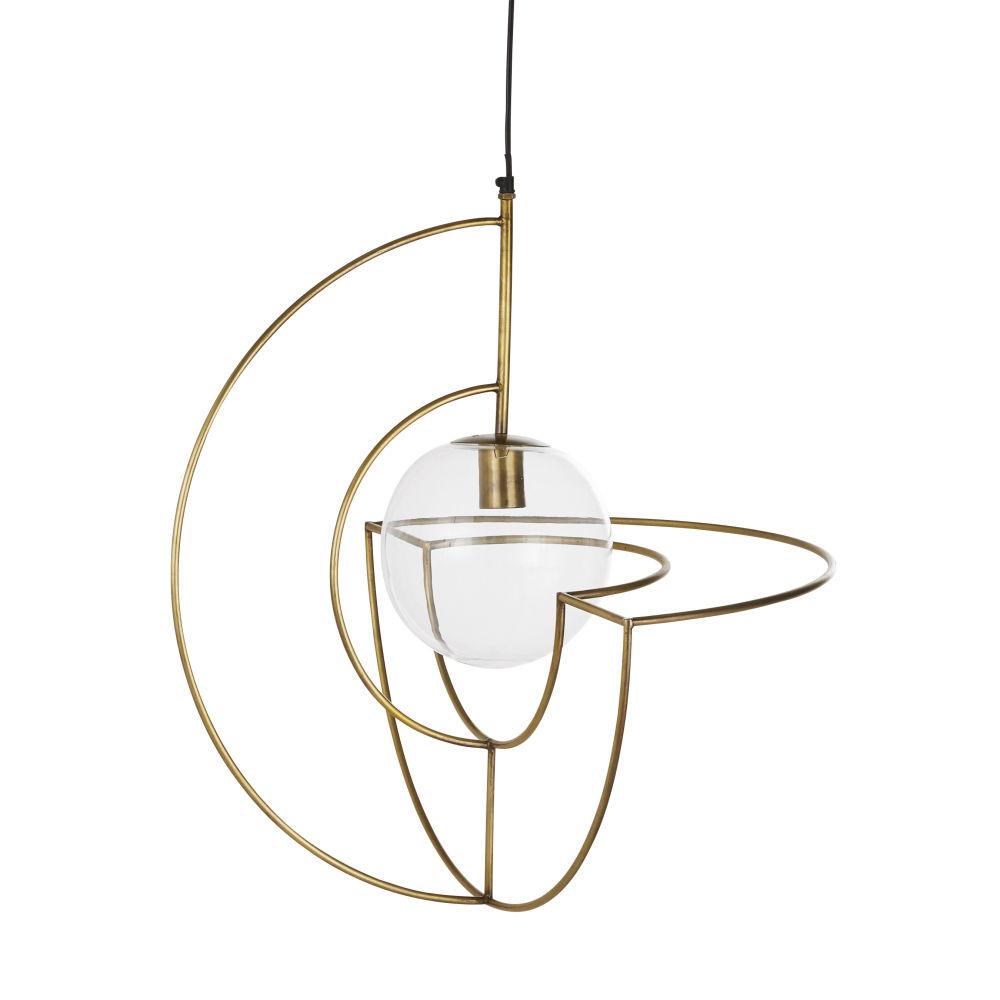 Suspension globe en verre transparent et métal doré