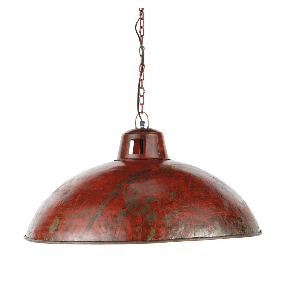 Suspension indus en métal rouge effet rouille