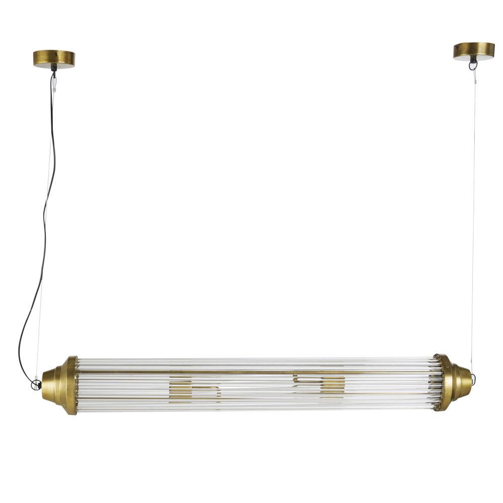 Suspension indus tube en verre et métal doré
