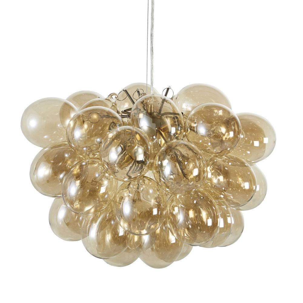 Suspension multi-globes en verre ambré et métal doré D49