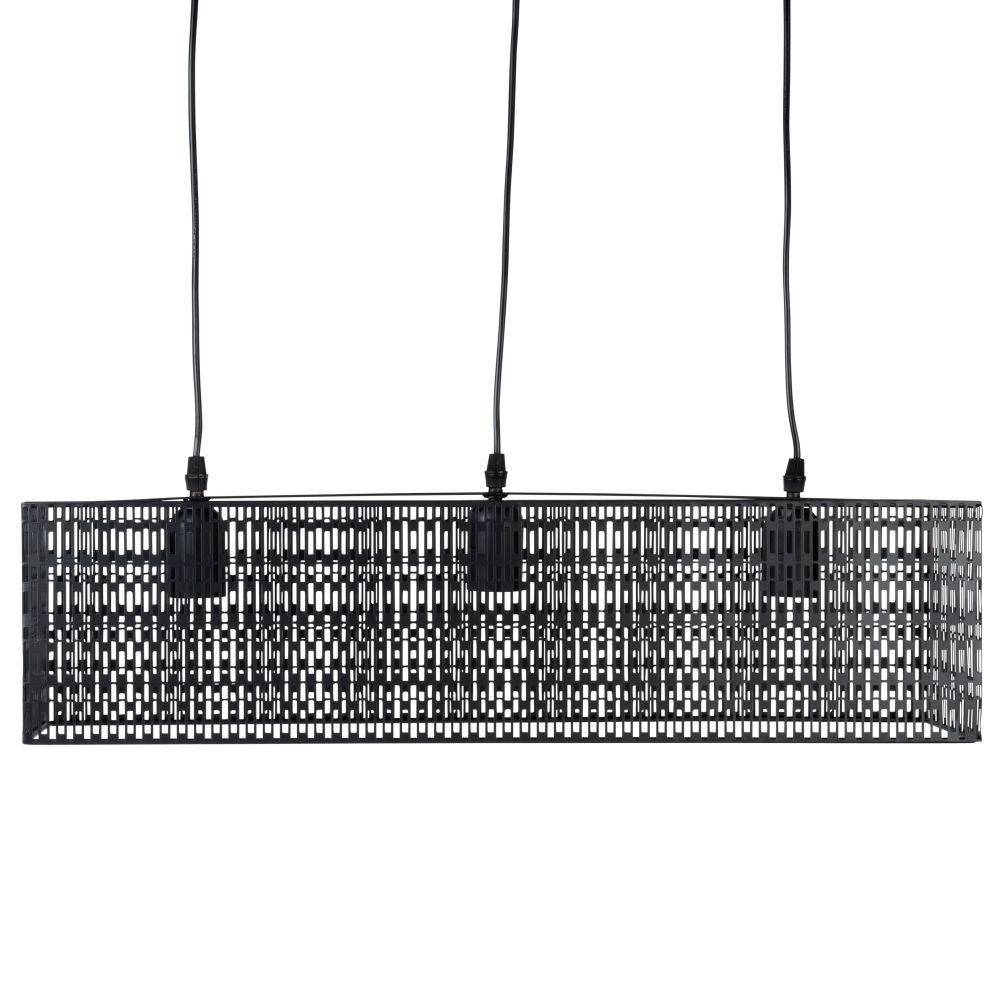 Suspension rectangle en métal ajouré noir