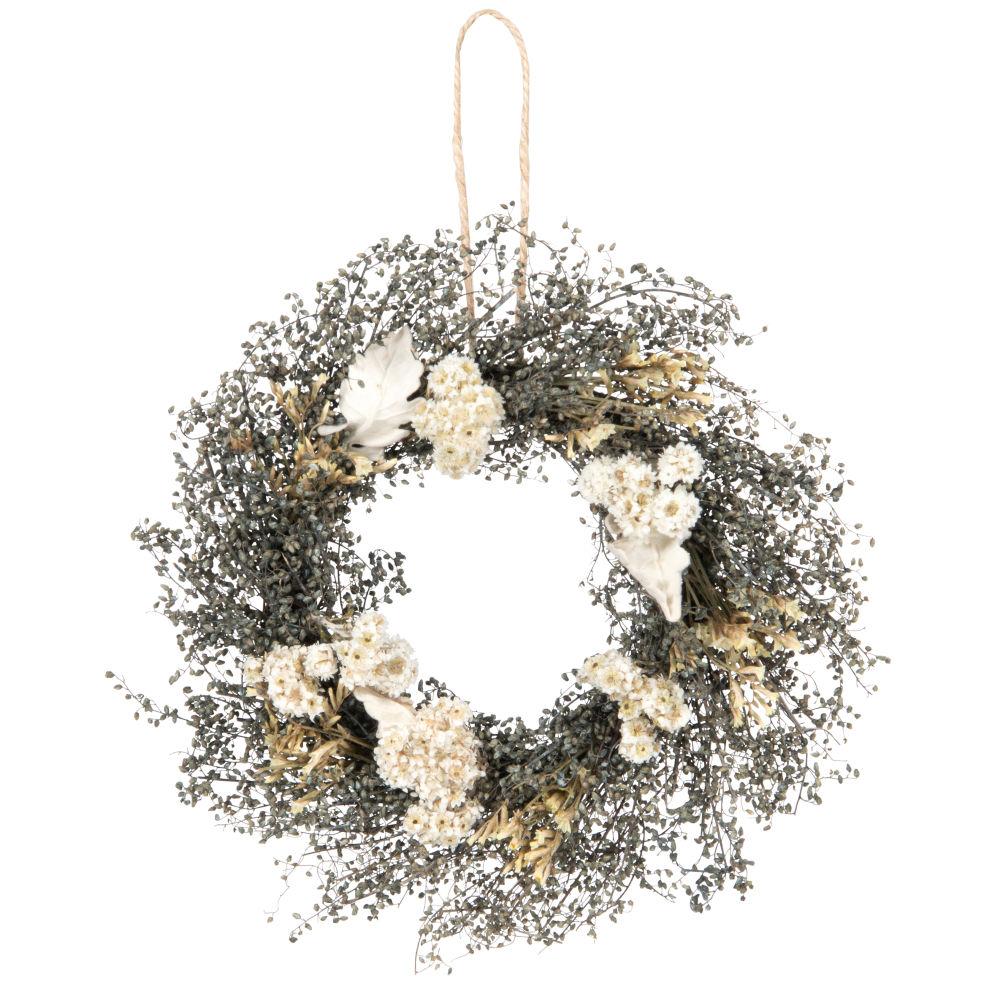 Suspension ronde végétale et fleurs blanches