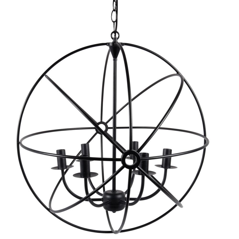 Suspension sphère 6 branches en métal noir