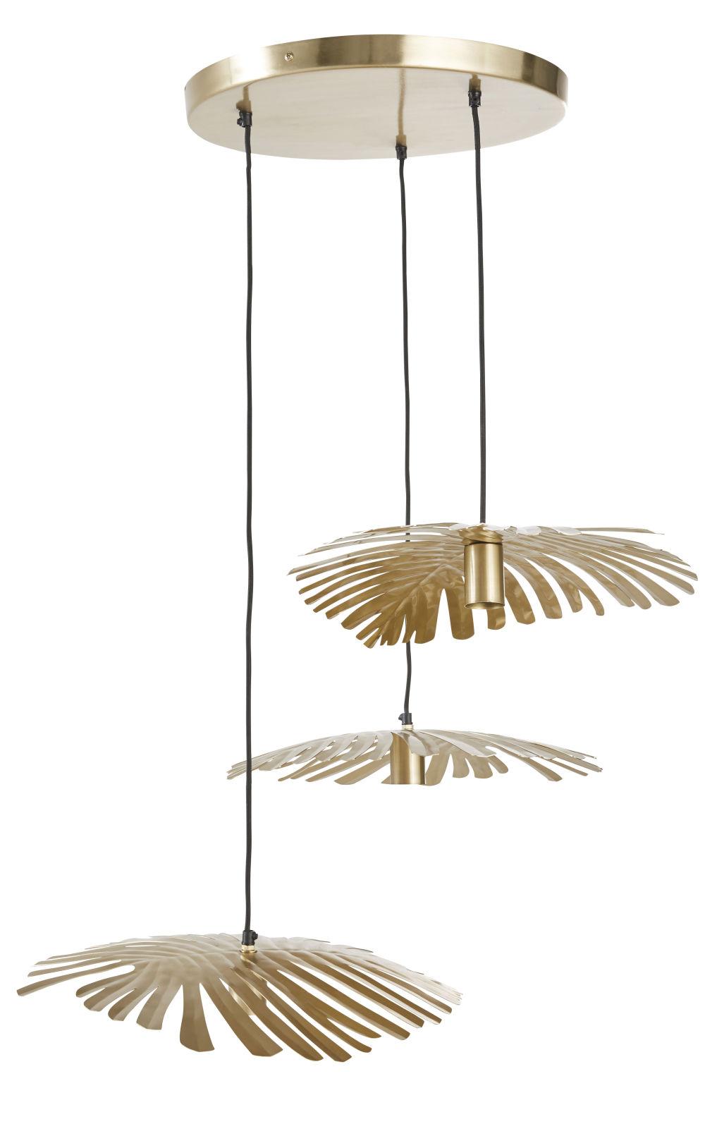 Suspension triple feuilles de palmier en métal doré