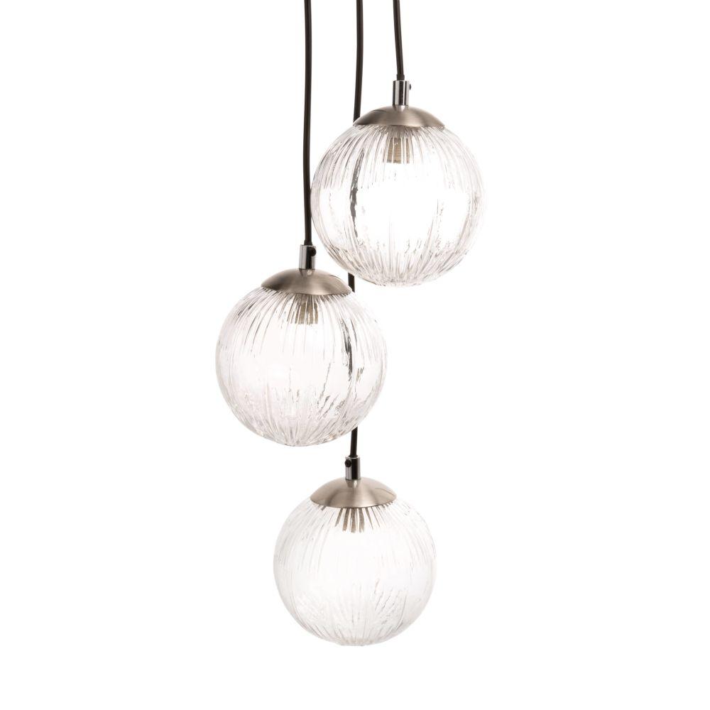 Suspension triple globes en verre strié et métal