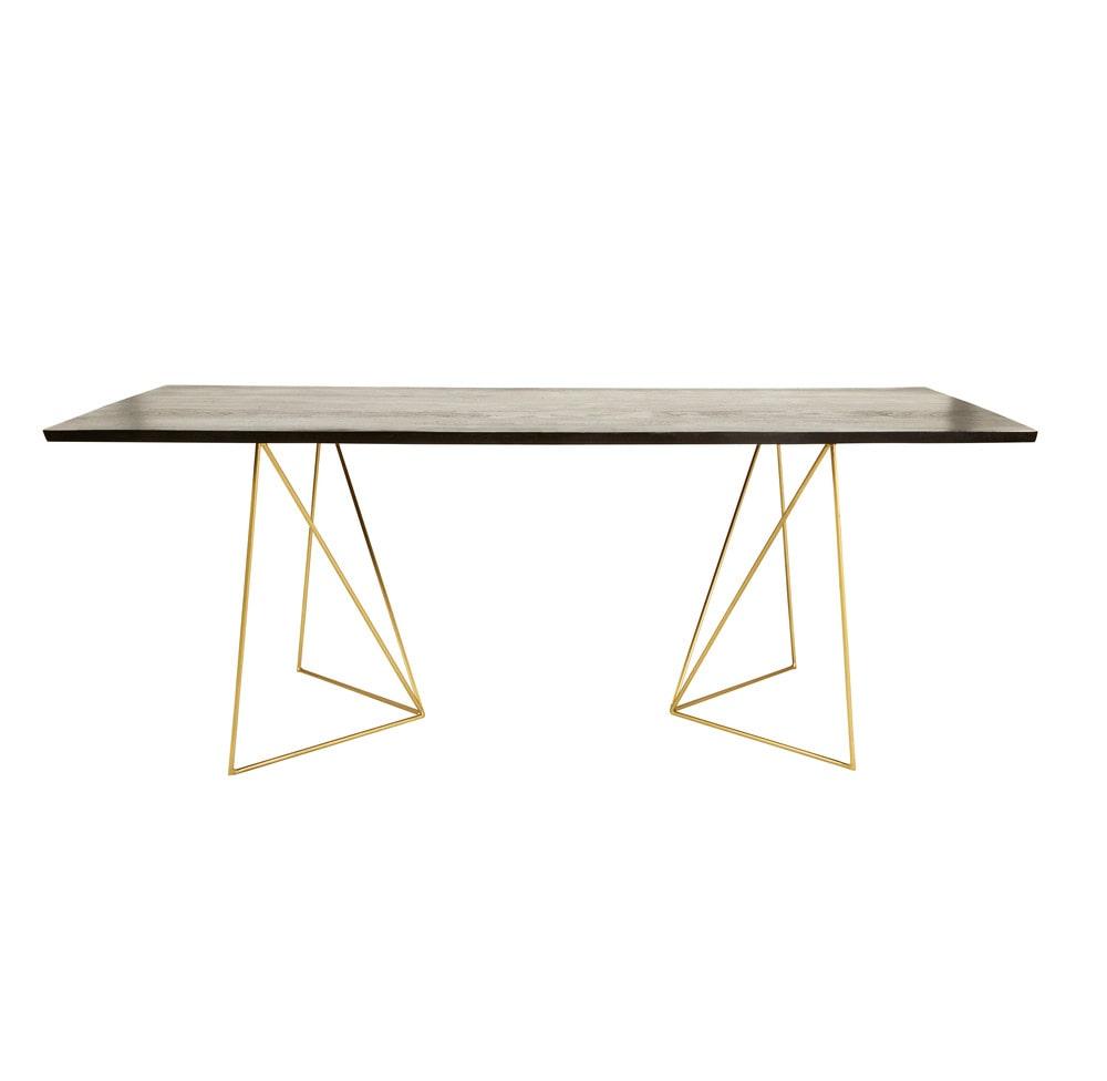 Table à manger 4/6 personnes en acacia noir et métal doré L197