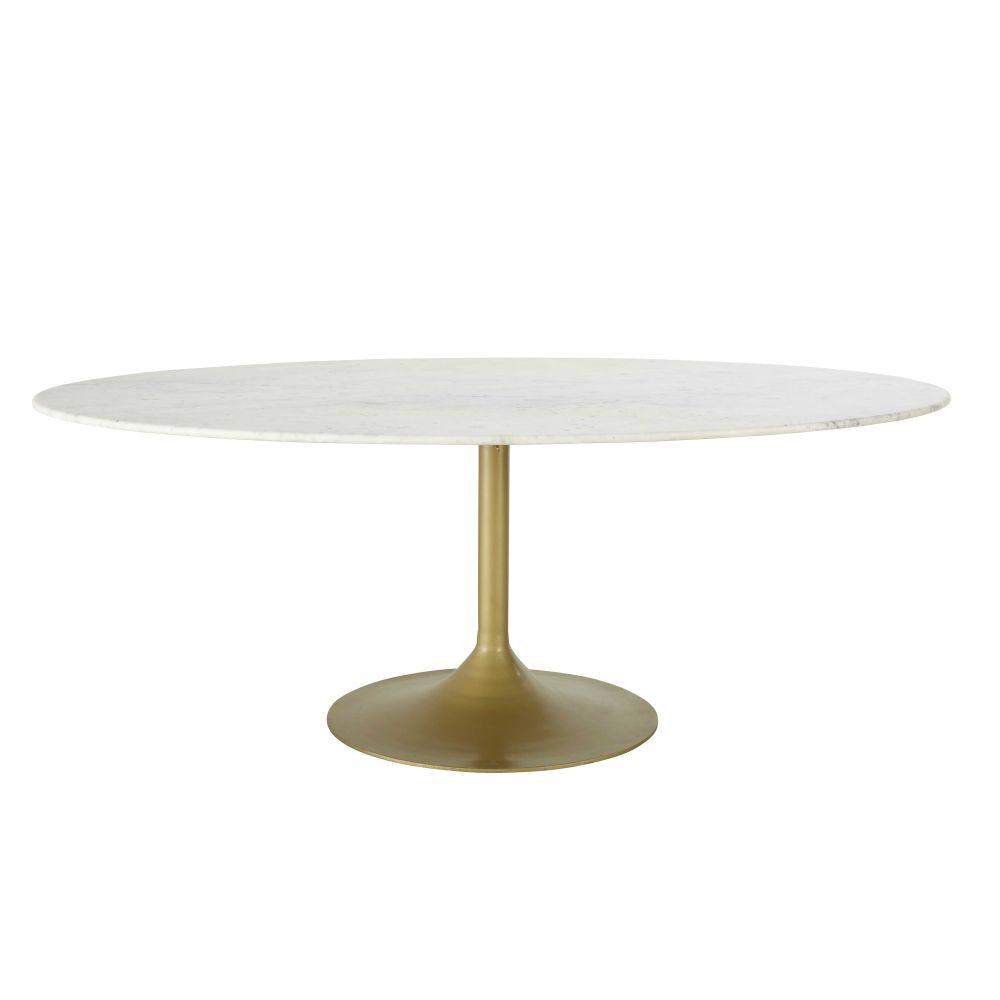 maison du monde Table à manger 4/6 personnes en marbre et métal L200