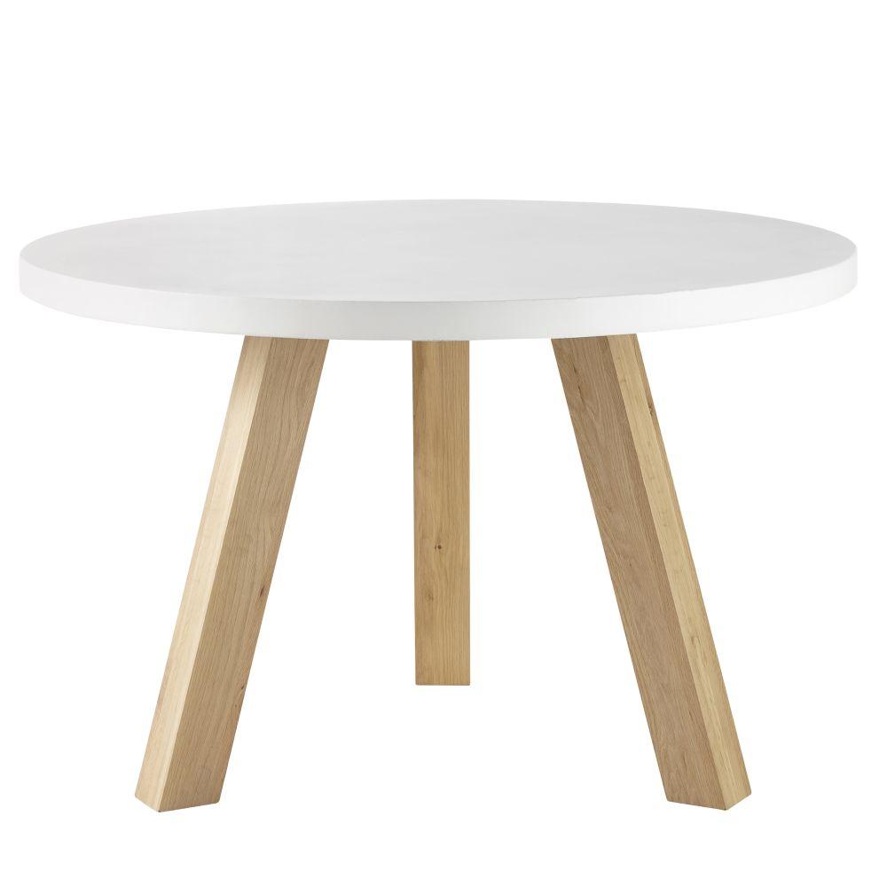 maison du monde Table à manger 5/6 personnes en béton blanc et chêne D120