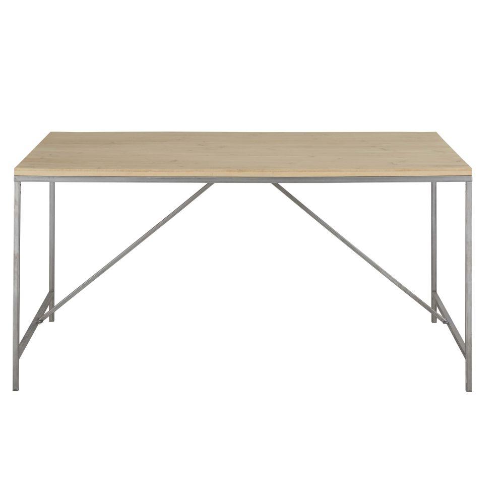 Table à manger 6 personnes coloris gris et naturel L150