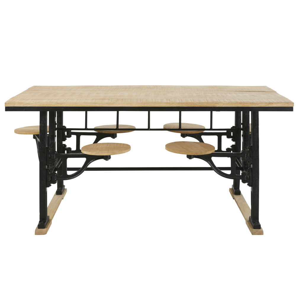 Table à manger 8 personnes avec tabourets en manguier et fonte L180
