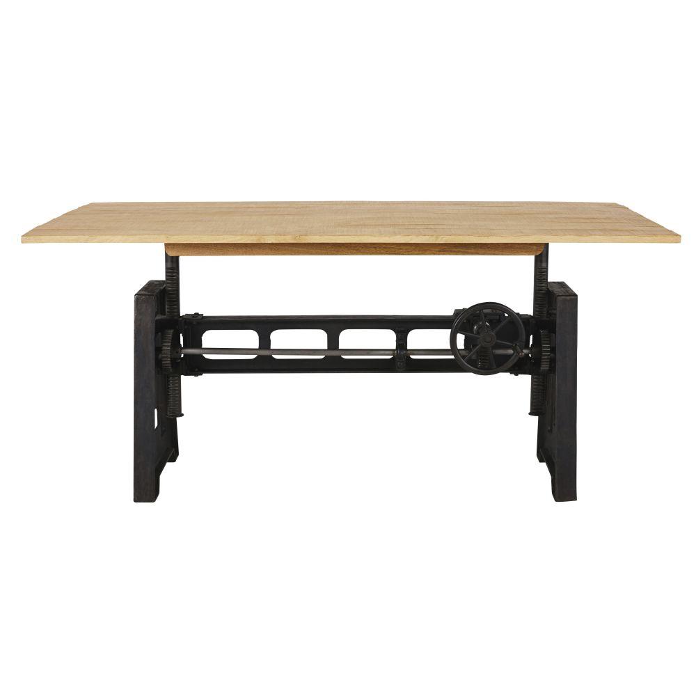 Table à manger ajustable en manguier massif et métal noir 8/10 personnes H76/106