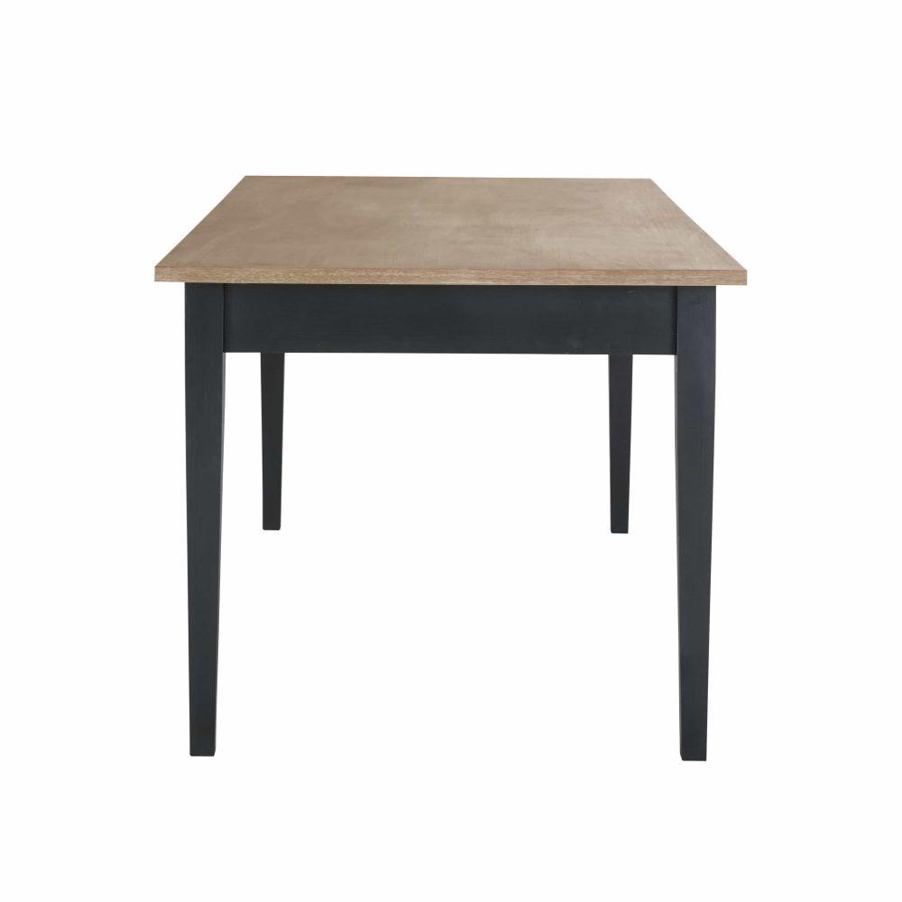 Table à manger coloris gris anthracite et naturel 8 personnes L180
