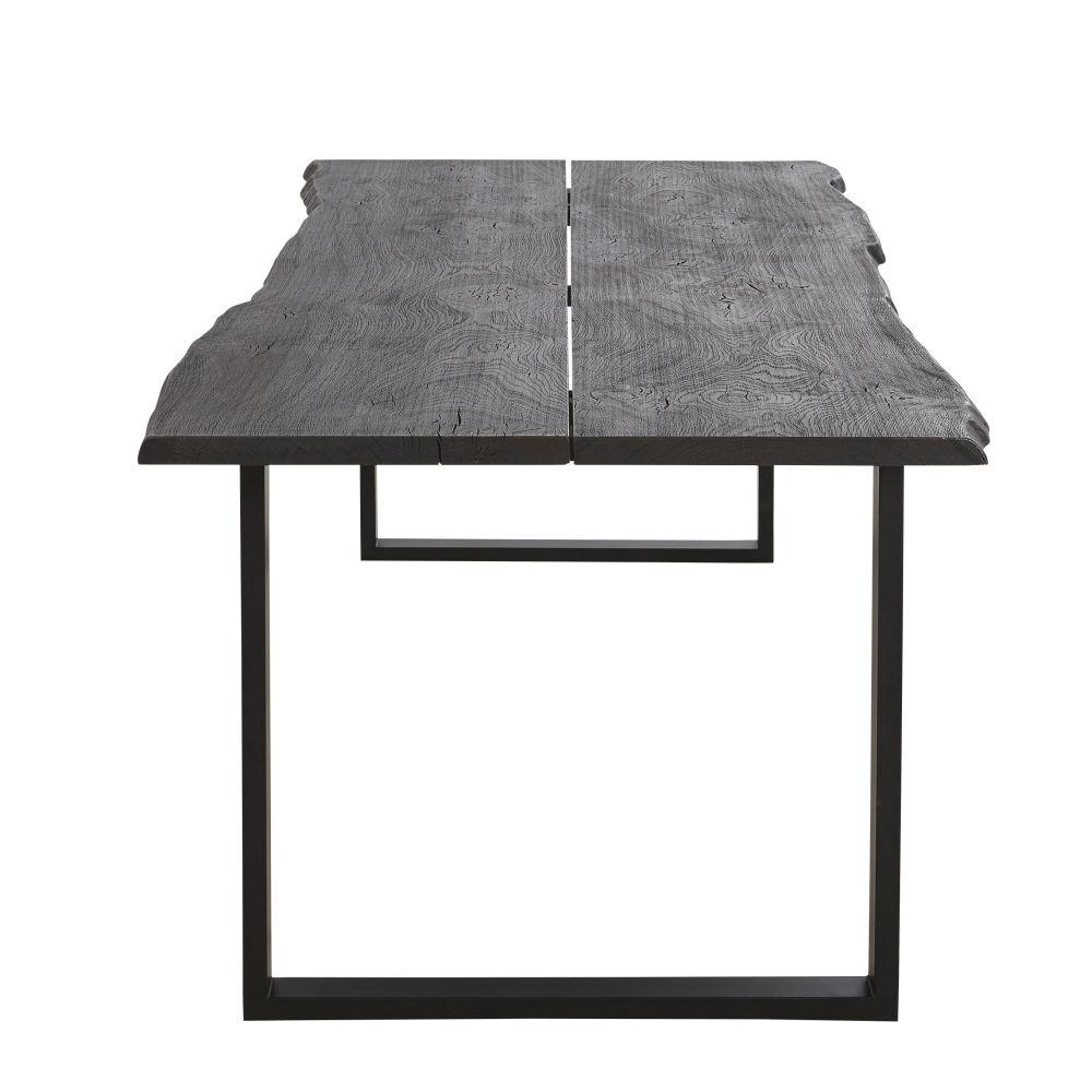 Table à manger en chêne gris ardoise et métal 8/10 personnes L220