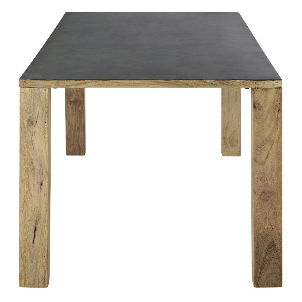 Table à manger en manguier massif et métal 8/10 personnes L200