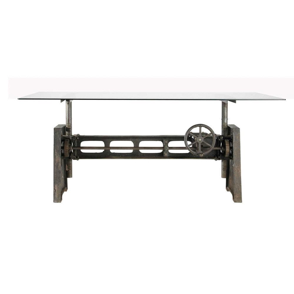 Table à manger en verre et métal 10 personnes L200