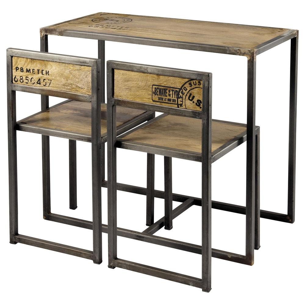 Table à manger et 2 chaises en manguier et métal L90