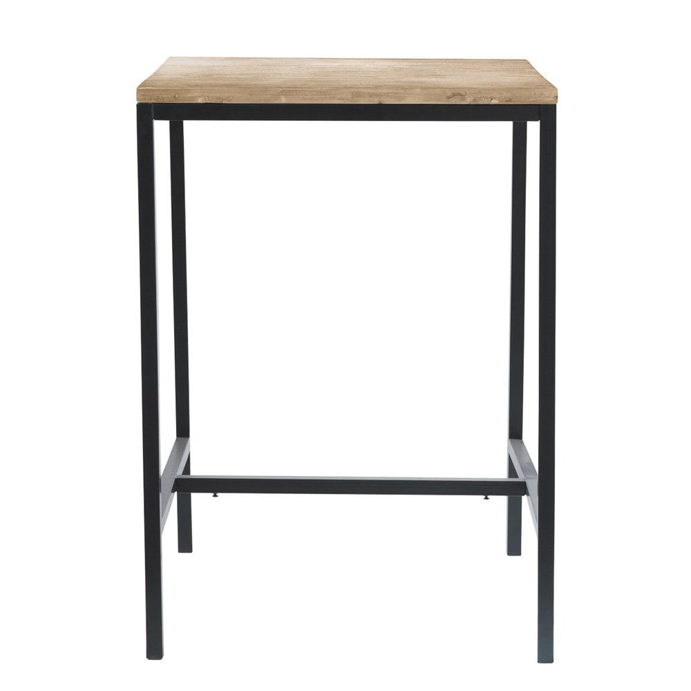 Table à manger haute en sapin et métal 2/4 personnes L75
