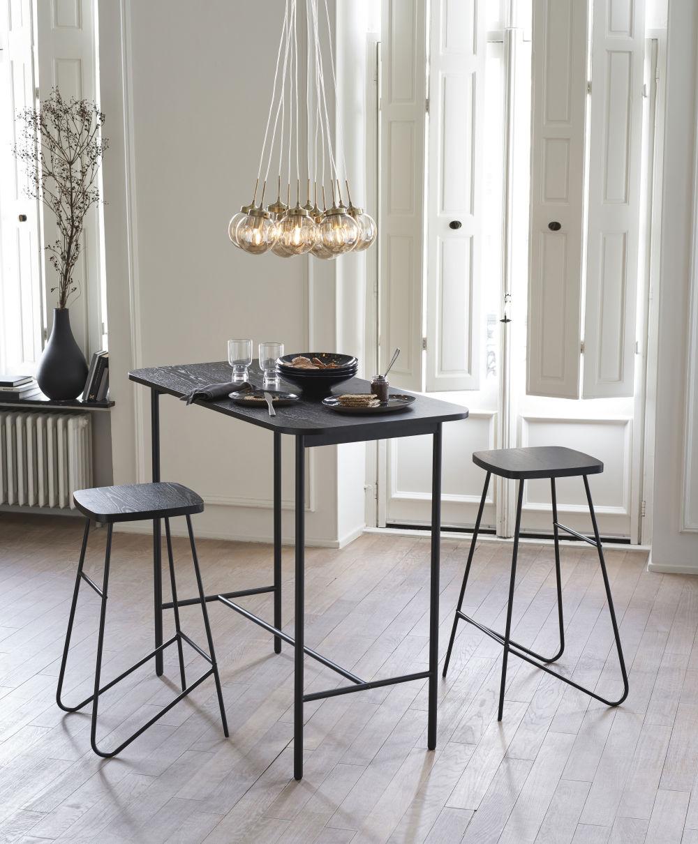 Table à manger haute et tabourets (x2) noir mat 2 personnes L120