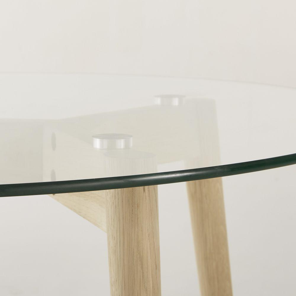 Table à manger ronde 4 personnes en verre et chêne D90