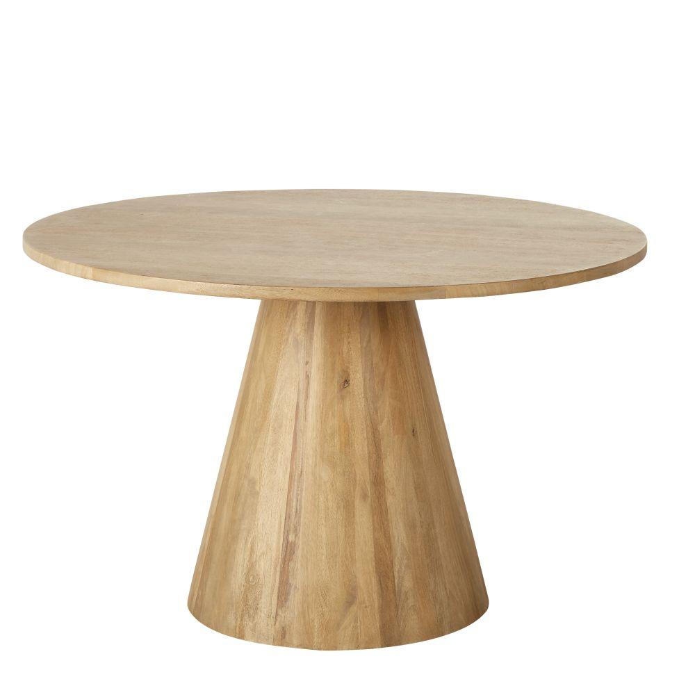 maison du monde Table à manger ronde en manguier massif blanchi 5/6 personnes D120