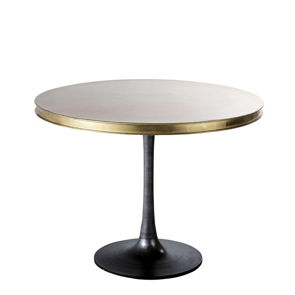 maison du monde Table à manger ronde en métal coloris laiton 4/5 personnes D100
