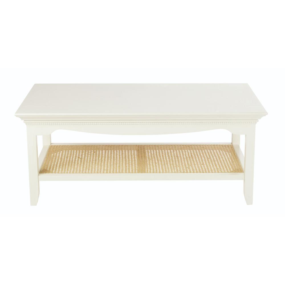 Table basse 2 plateaux blanc cassé cannage en rotin