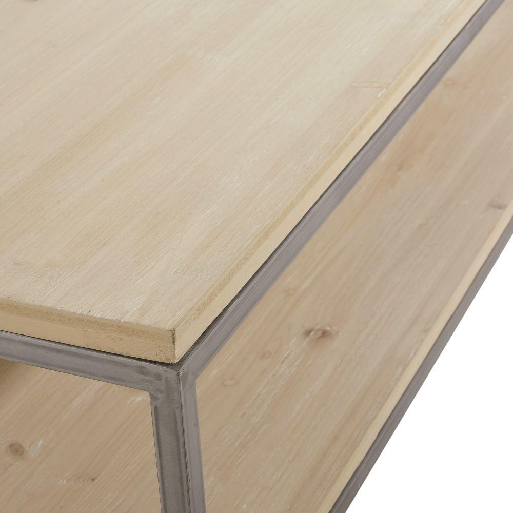 Table basse 2 plateaux coloris gris et naturel