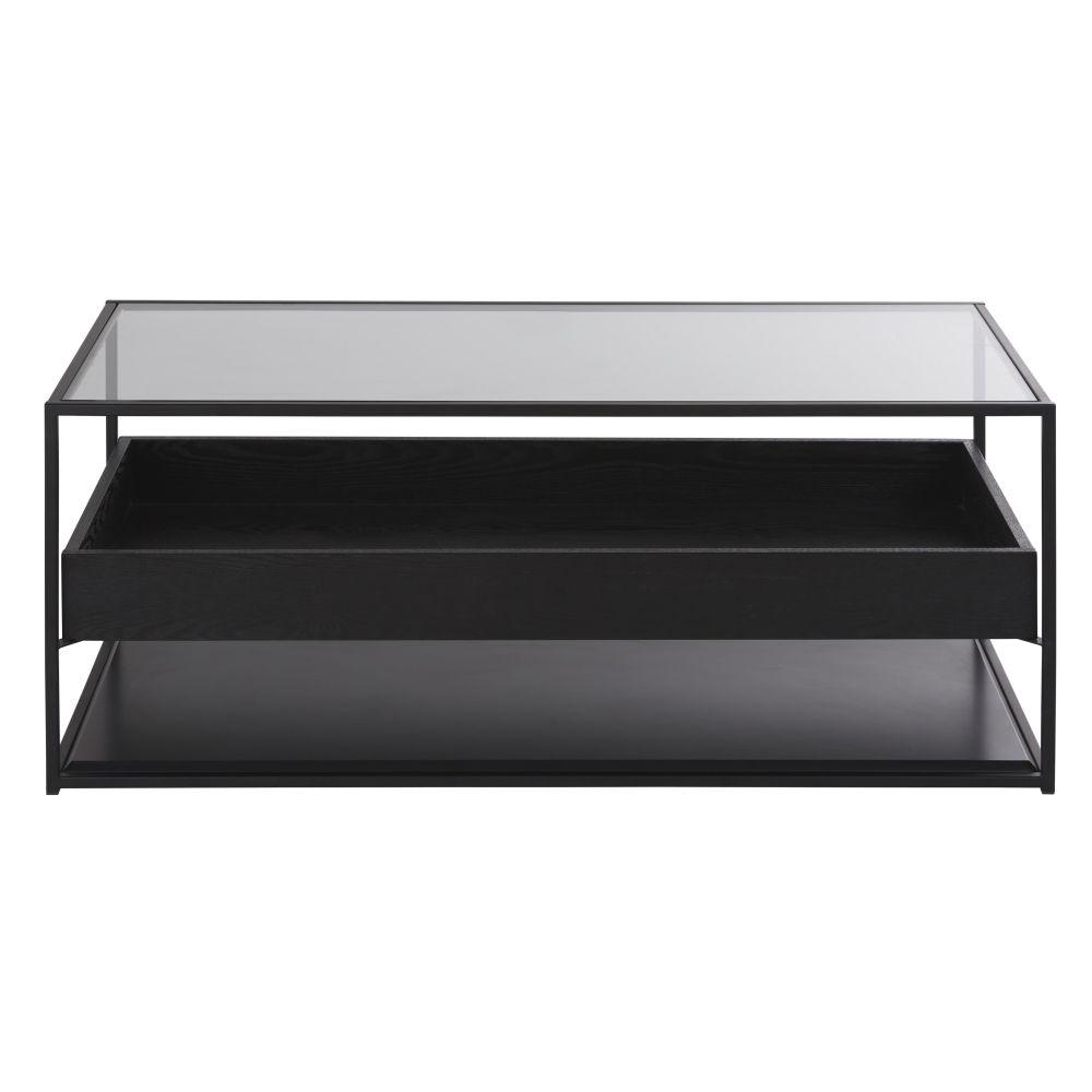 Table basse 2 plateaux en métal noir et verre