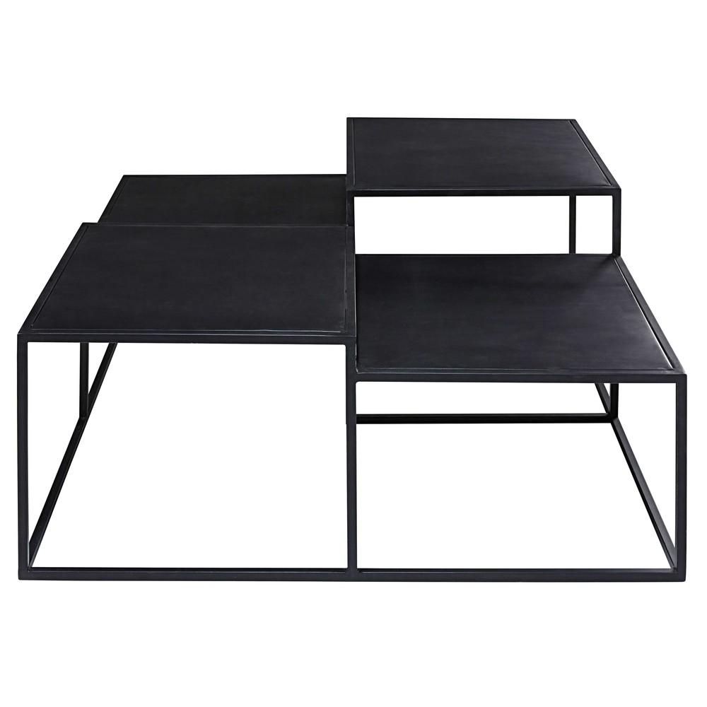 Table basse 4 plateaux en métal noir