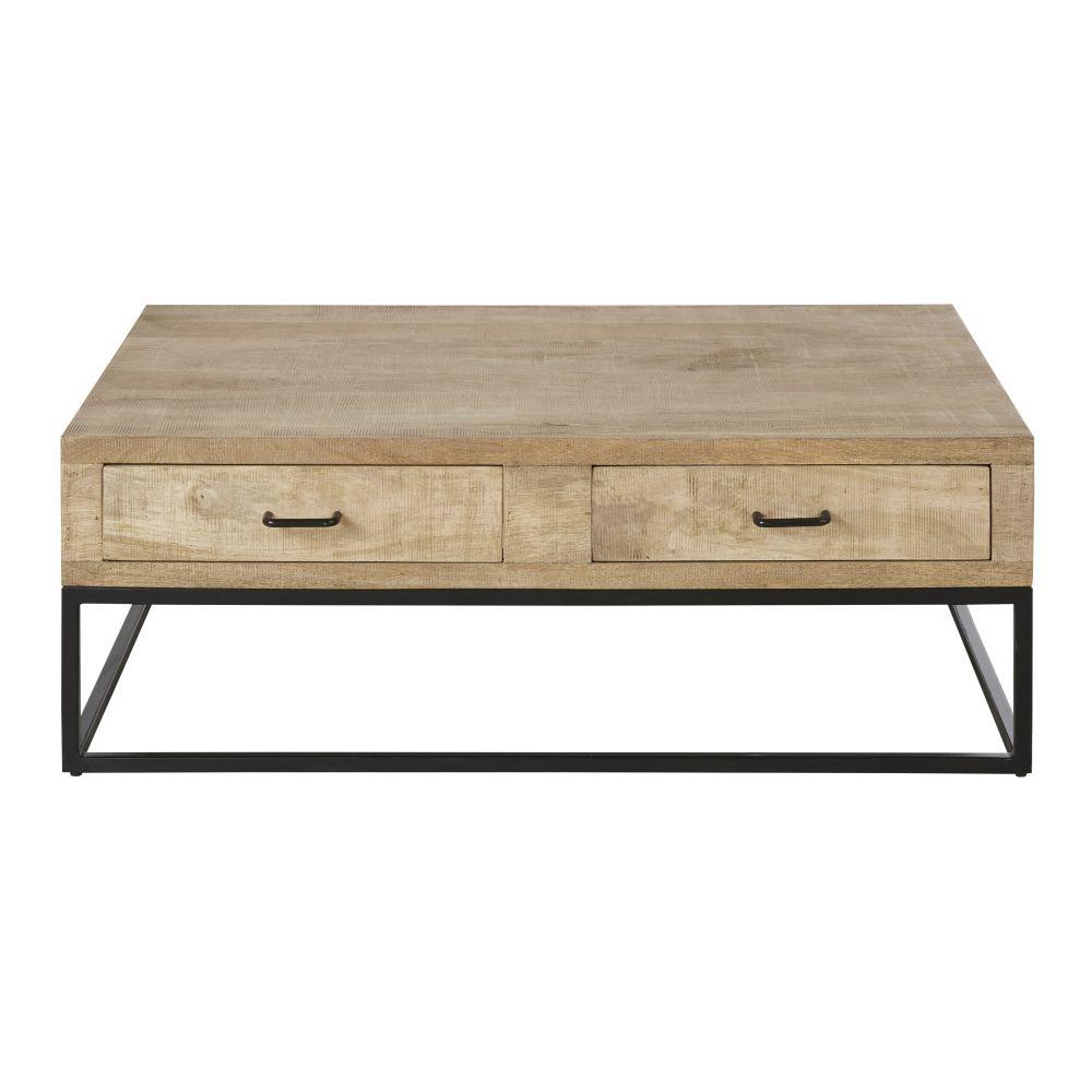 Table basse 4 tiroirs en manguier et métal noir