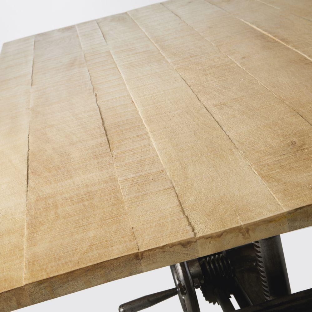 Table basse ajustable en manguier massif et métal noir H48/61
