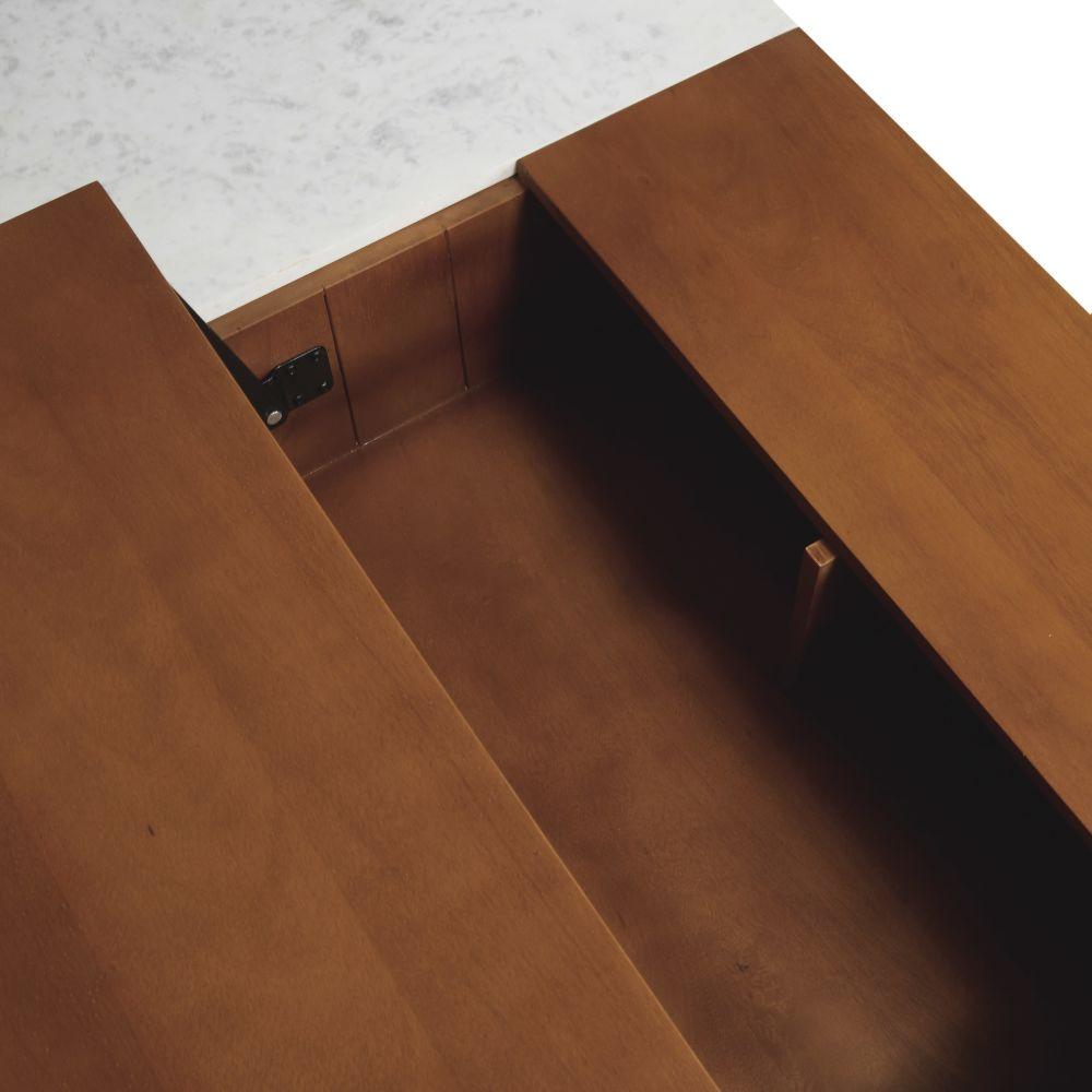 Table basse avec plateau relevable en manguier massif et marbre blanc