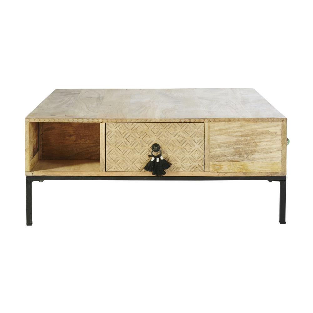 Table basse carrée 4 tiroirs en manguier massif et métal noir