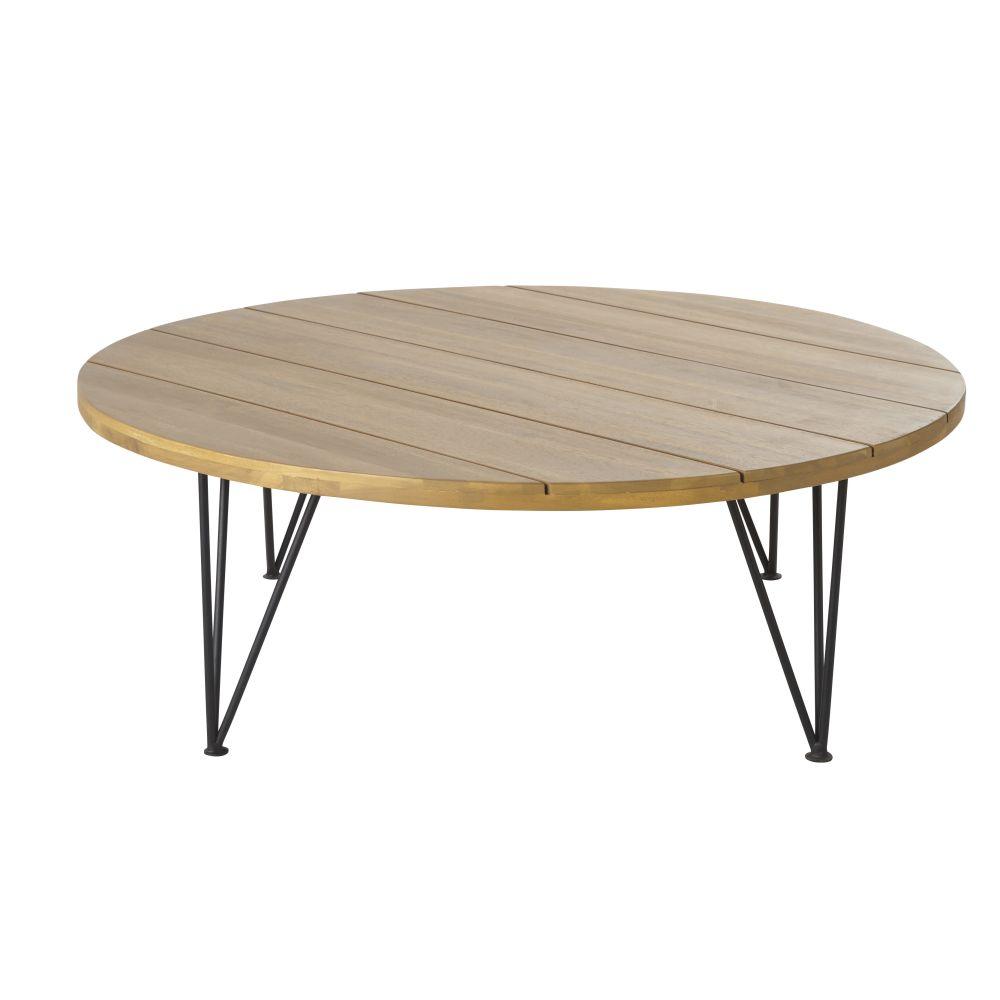 Table basse de jardin en acacia massif et métal noir