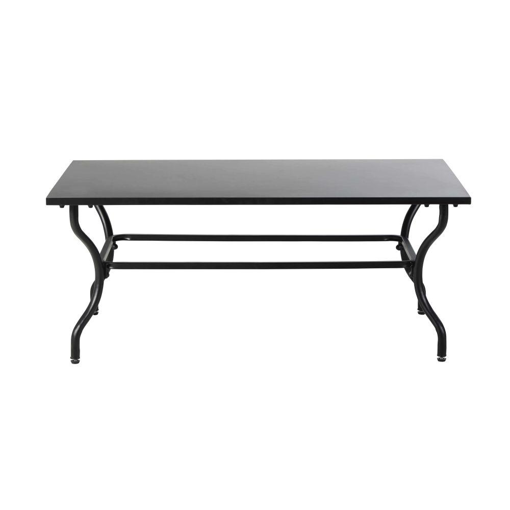 Table basse de jardin en métal et fer forgé noirs