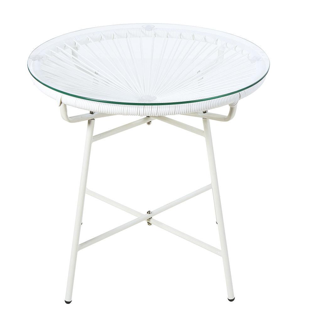 Table basse de jardin en résine blanche et verre