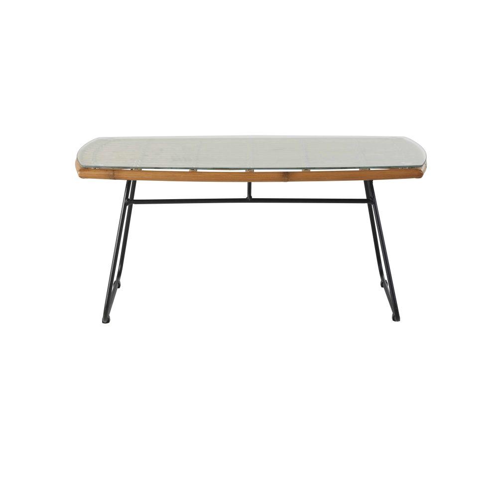 Table basse de jardin en résine imitation bambou, verre trempé et métal noir