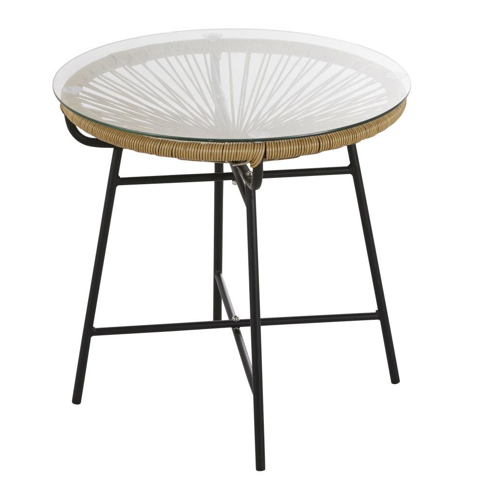 Table basse de jardin en résine imitation rotin et verre