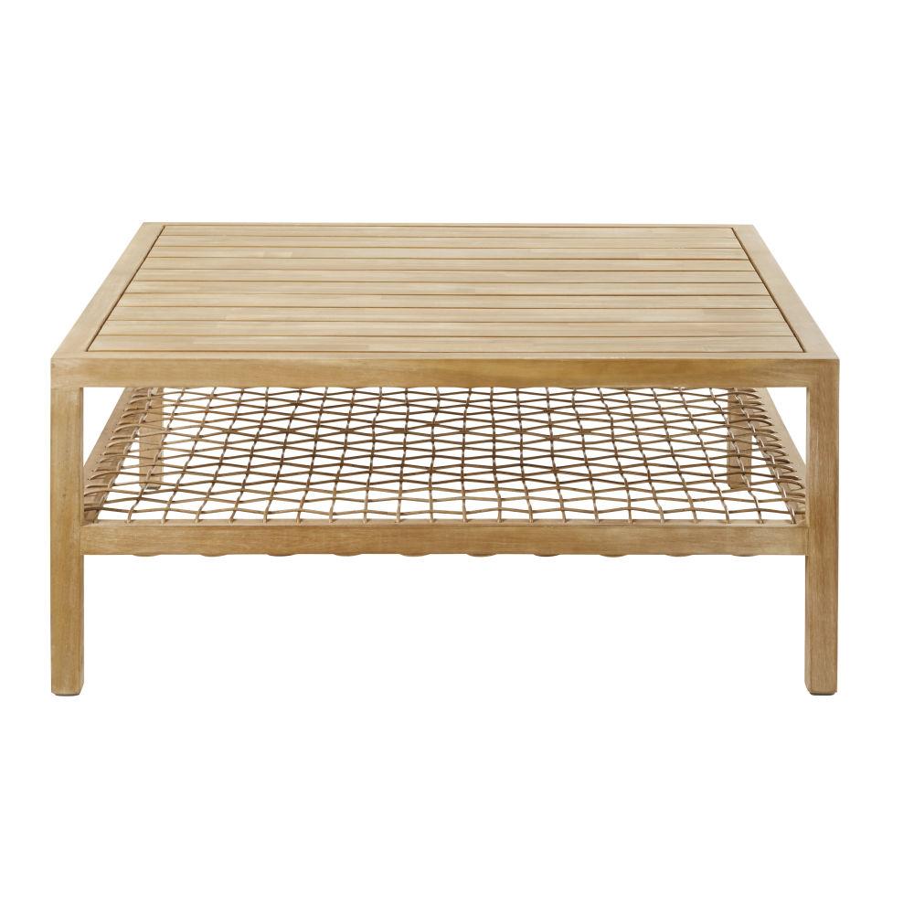 Table basse de jardin en résine tressée et acacia massif
